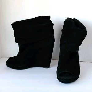 Black suede open toe boots